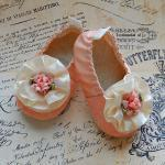 SORBET-peach lace baby shoe..