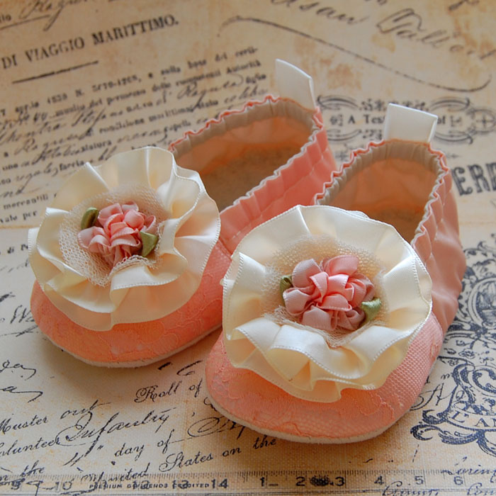 SORBET-peach lace baby shoes
