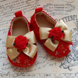 MON COEUR-red brocade baby shoes